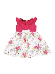 Flap Doodle by Doodle Girls Pink & White Floral Print Dress