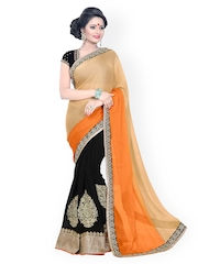Florence Beige & Black Embroidered Chiffon Fashion Saree
