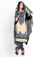 Florence Beige & Black Crepe Unstitched Dress Material