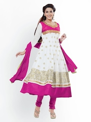 Florence White & Pink Georgette Unstitched Anarkali Dress Material