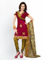 Florence Maroon & Mustard Yellow Cotton Unstitched Dress Material