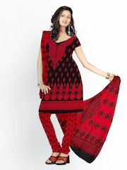 Florence Black & Red Cotton Unstitched Dress Material