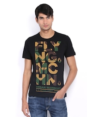 Men Black Printed T-shirt Flying Machine