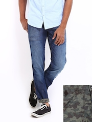Flying Machine Men Blue & Green Reversible Prince Slim Fit Jeans