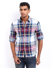 Flying Machine Men Blue & Red Checked Casual Shirt