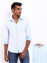 Flying Machine Men Blue & White Reversible Casual Shirt