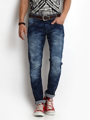 Flying Machine Men Blue Camouflage Print Regular Slim Fit Jeans