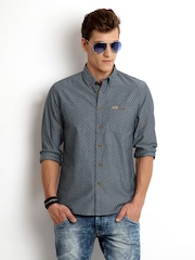 Flying Machine Men Dark Grey Printed Premium Fit Casual Shirt