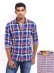 Flying Machine Men Multi-Coloured Checked Reversible Casual Shirt