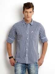 Flying Machine Men Navy & White Checked Casual Shirt
