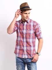 Flying Machine Men Red & Blue Checked Casual Shirt