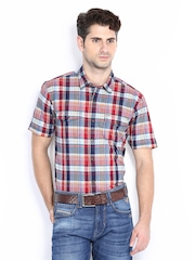Flying Machine Men Red Checked Casual Shirt
