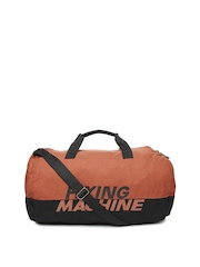 Flying Machine Men Rust Orange & Black Duffle Bag