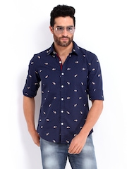 Flying Machine Men Navy Casual Shirt