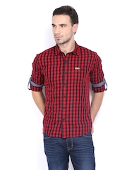 Men Red & Black Checked Casual Shirt Flying Machine