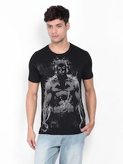 Men Black Printed T-shirt Flying Machine 382209