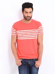 Flying Machine Men Coral Red T-shirt