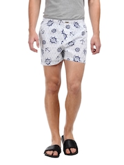 Flying Machine Men White & Navy Boxer Shorts FMST0066