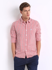 Flying Machine Men White & Red Checked Casual Shirt