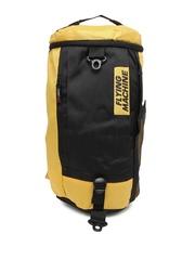 Flying Machine Unisex Black & Yellow Convertible Duffle Bag