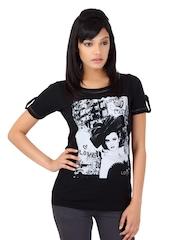Flying Machine Women Black Printed T- Shirt