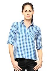 Flying Machine Women Blue & White Gingham Checked Casual Shirt