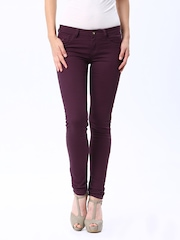 Flying Machine Women Wine Coloured Twiggy Fit Jeans