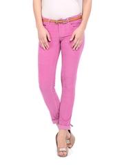 Flying Machine Women Pink Twiggy Super Skinny Fit Corduroy Trousers