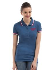 Flying Machine Women Blue Polo T-shirt