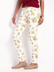 Flying Machine Off-White Floral Print Twiggy Super Skinny Fit Jeans