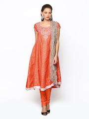 Folklore Orange Churidar Kurta with Dupatta