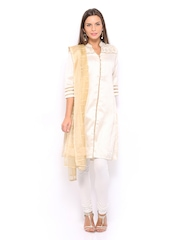 Folklore Women Beige & Gold Toned Embroidered Churidar Kurta with Dupatta