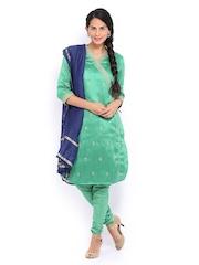 Folklore Women Green & Navy Embroidered Churidar Kurta with Dupatta