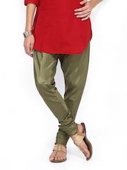 Folklore Women Olive Green Churidar Pants