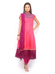 Folklore Women Pink & Purple Embroidered Anarkali Churidar Kurta with Dupatta
