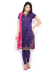 Folklore Women Purple & Pink Churidar Kurta with Dupatta