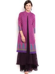 Folklore Women Purple Sharara Pants & Kurta with Jacket Set