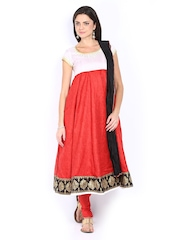Folklore Women White & Red Printed Churidar Kurta with Dupatta