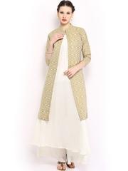 Folklore Women White Sharara Pants & Kurta with Jacket Set
