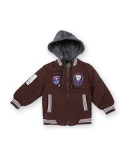 Boys Coffee Brown Padded Hooded Jacket Fort Collins