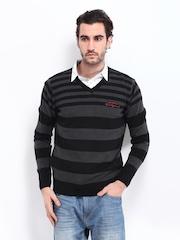 Fort Collins Men Black & Grey Striped Sweater