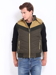 Men Brown & Beige Padded Sleeveless Jacket Fort Collins