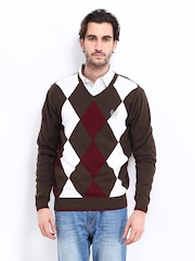 Men Brown & White Sweater Fort Collins