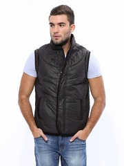 Men Coffee Brown Padded Sleeveless Jacket Fort Collins