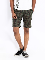 Men Green & Brown Camouflage Print Cargo Shorts Fort Collins