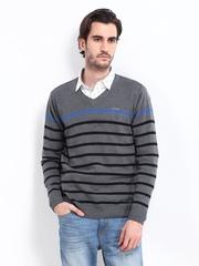 Fort Collins Men Grey & Black Striped Sweater