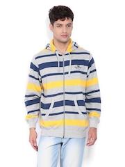 Fort Collins Men Grey Melange & Navy Striped Sweatshirt
