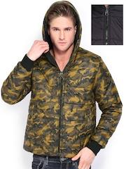 Fort Collins Men Olive Green & Black Padded Reversible Jacket