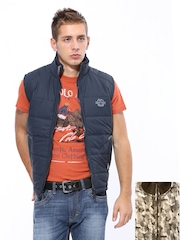Fort Collins Men Navy Sleeveless Reversible Jacket