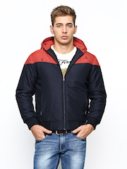 Fort Collins Men Navy & Red Hooded Jacket